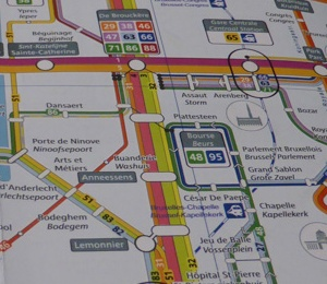 Map of the metro, bus, tram